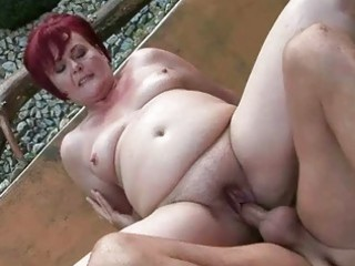 chubby grandma gets her pussy fucked outdoor