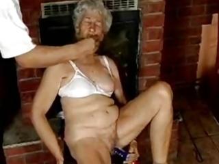 bushy granny with dildos