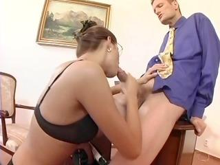 nerdy secretary sex in thigh high nylons