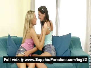 angelic brunette and blonde lesbian babes giving
