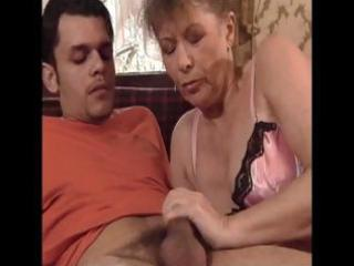 hot looking granny sucks a younger ramrod and