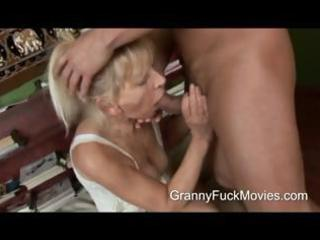 youthful stud pounding a skinny granny