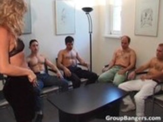 non-professional gang bang party with some older