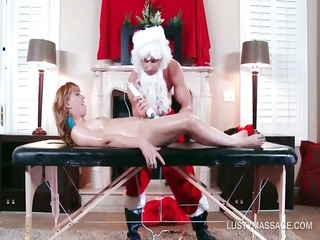 foxy redhead acquires vagina fucked by hot masseur