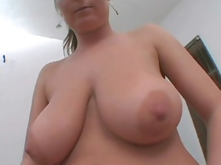 Chubby chick displays her goodies and oils her