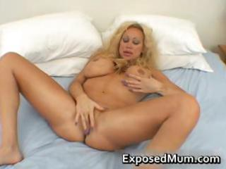 huge milk shakes mama in thong fingering her part1