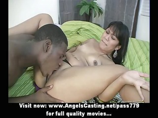 Amateur lovely sexy brunette babe doing blowjob