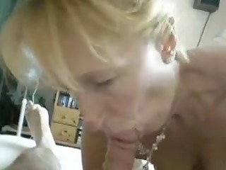 blond aged engulf off at home