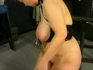 Fat milf slave gets metal clamps on her large