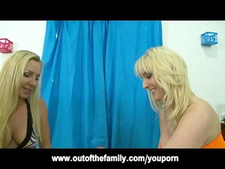 blond british mother i teaches daughter to engulf