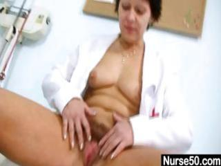 sexy mother i in nurse uniform stretching hairy