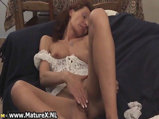 horny brunette housewife masturbating part1