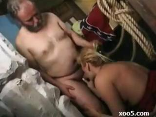sexy blond d like to fuck eats an old lads cock,