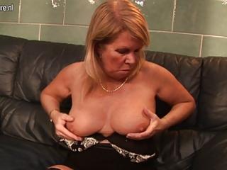 european grandma likes to receive herself moist