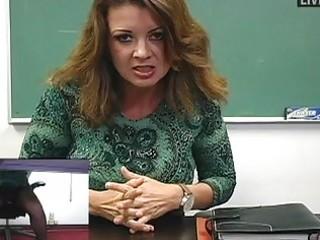 Busty milf teacher masturbates in sexy black