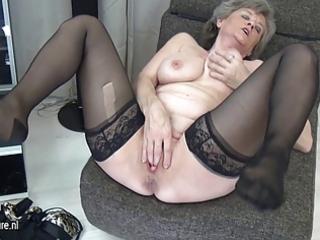 breasty grandma masturbate alone