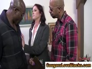 Interracial mature bitch sucks on cocks