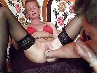 fist fucking the wifes massive fur pie untill she
