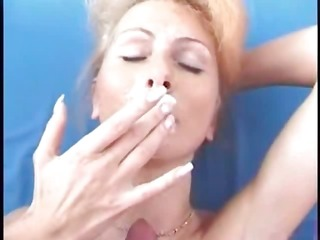 blonde blows his hard rod and receives a facial