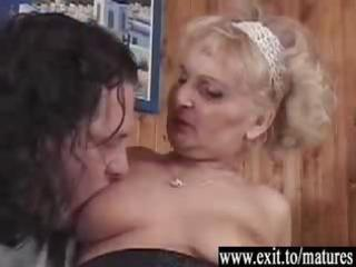 three-some with 1 immodest bi grannies