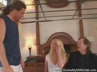 hubby brings in his hit blond wife and watches