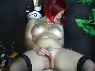 breasty dilettante wife toying her hairless muff