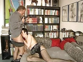 Slightly mature german amateur sucks and strips