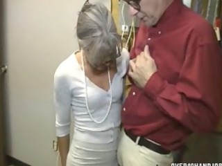granny jerking an old fellow