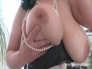 big beautiful woman aged honey playing with her