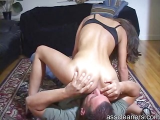 Mean mistress sits on ass cleaners face for ass