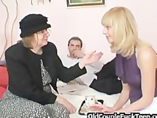 golden-haired shares jock with old bag