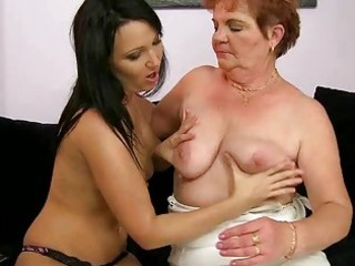 overweight granny enjoys lesbo sex with legal age