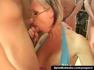 british golden-haired milf bukkake party