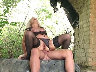 blond granny team-fucked hard outdoors by biggest