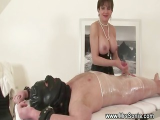 topless headmistress jerks off her tied serf