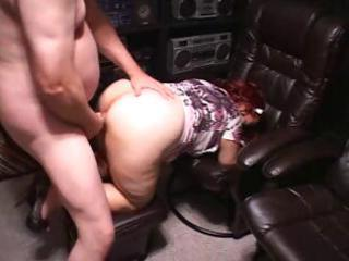 corpulent redhead aged eats his cock and then