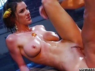 skinny darksome haired milf pornstar with large