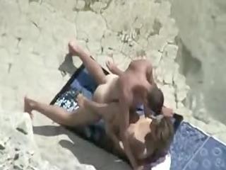 mature beach fuck clip scene of couple caught on