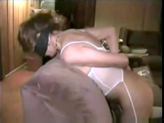 blindfolded white wife gets doggy style from dark