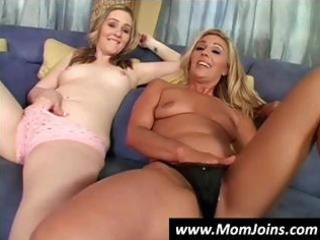 Sexy blonde mom and her cute daughter share this