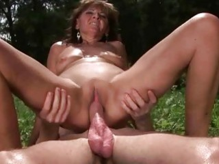 granny enjoys sexy sex with boy outdoor