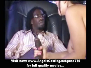 excellent hawt blonde does blowjob for afro guy