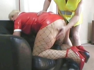 hot blond d like to fuck in latex outfit nailed
