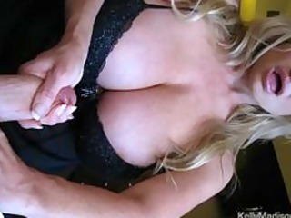 Mega Titted Wife Giving A Hot Handjob