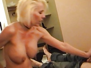 nasty blonde momma in strap and nylons rides hard
