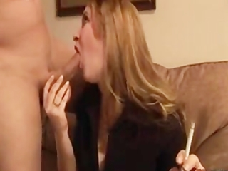 wife gives her chap a smokey bj