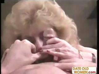 old blond granny blows his rod, acquires nailed