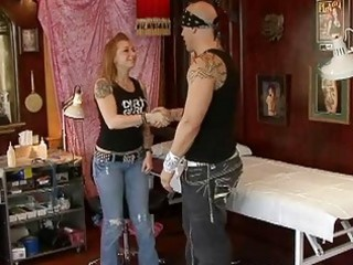 lusty golden-haired wife receives gangbanged by