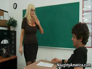 this busty blond milf of a teacher needs some