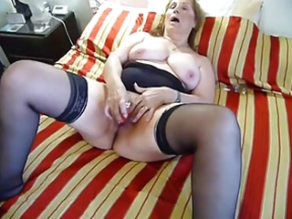 aged fat dildoing on couch